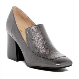 NEW Marc Fisher l Pewter Metallic Leather Loafer